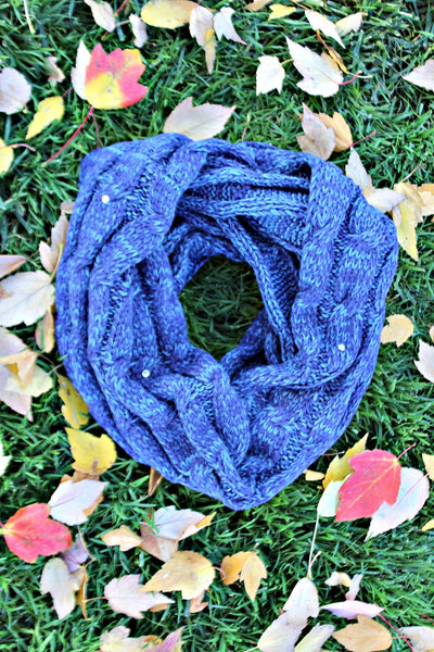 Variegated Navy Knit Infinity Scarf