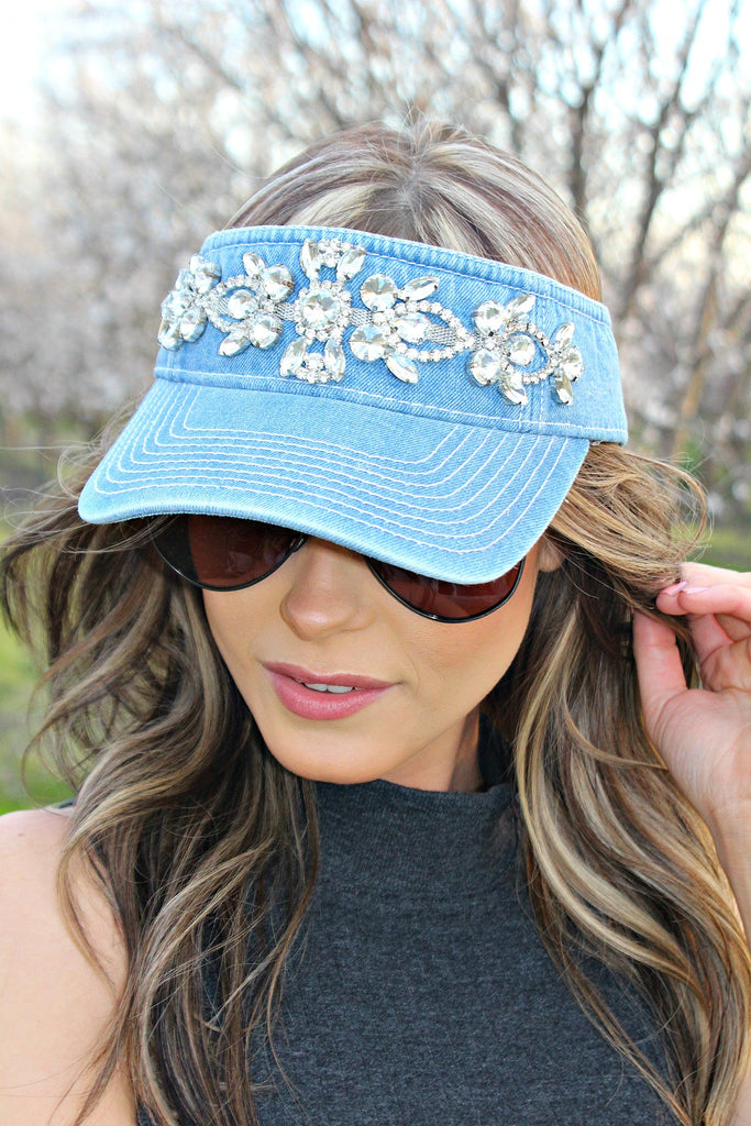 Denim and Swarovski Crystal Visor