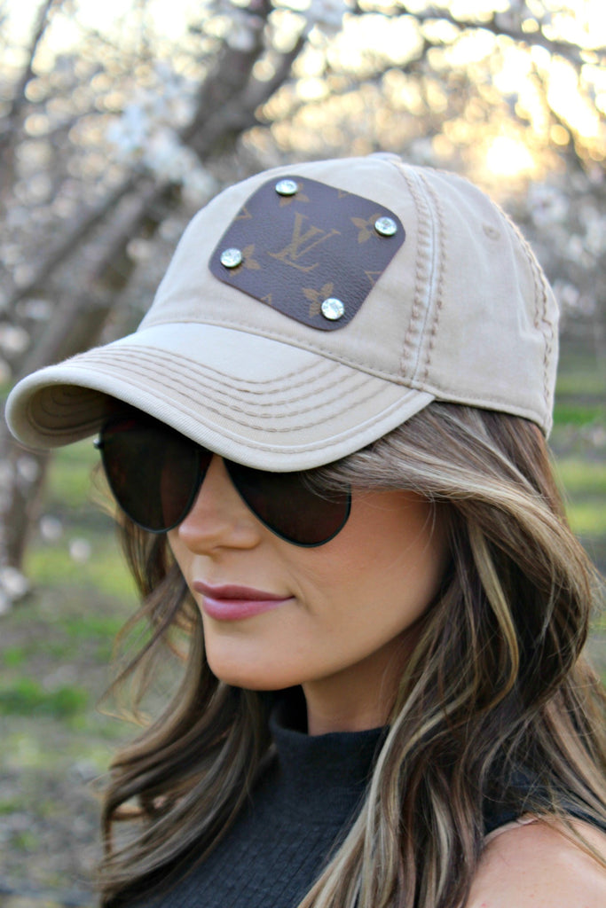 Authentic Re-purposed LV Patch Hat with Swarovski Crystals in 3 Colors - Glitzy Bella