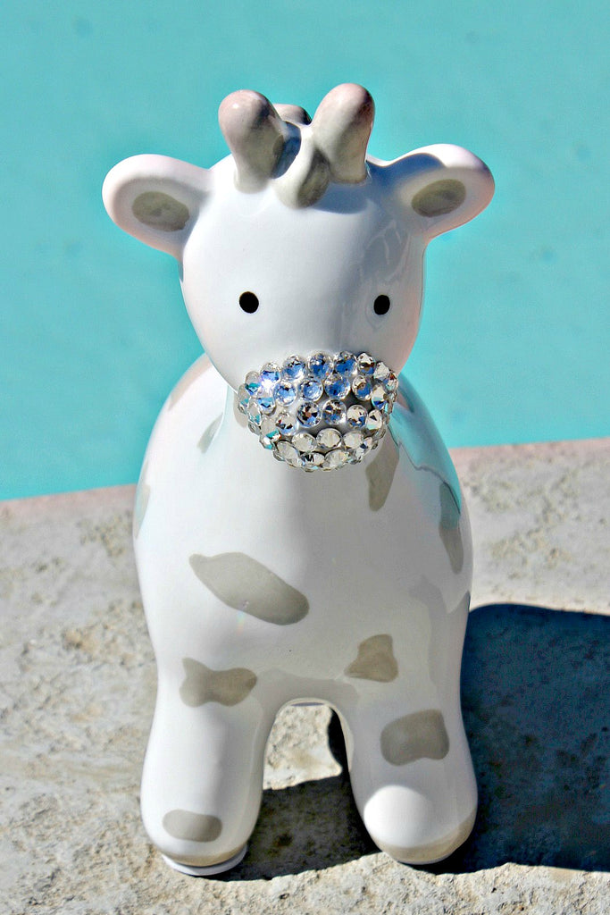 Grey Spotted Giraffe Piggy Bank