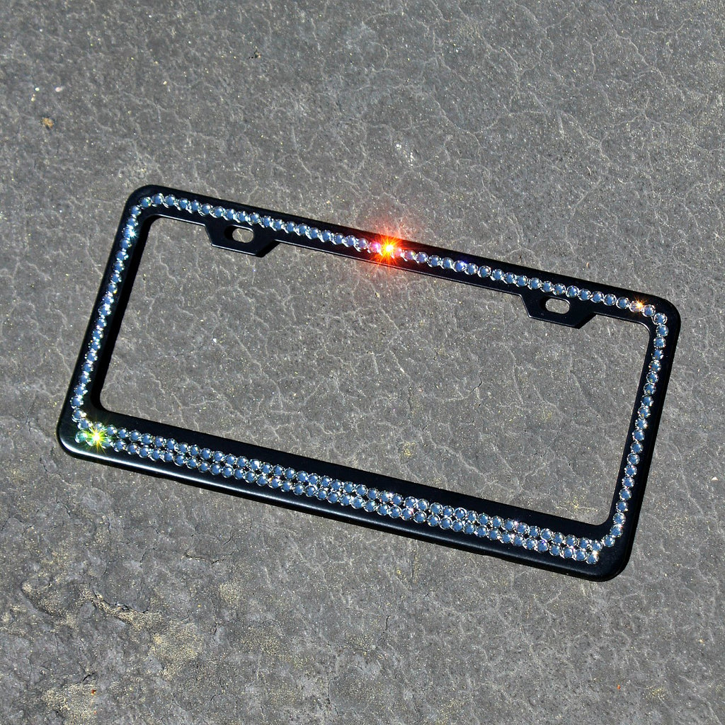 Black Matte Swarovski Crystallized License Plate Frame - Glitzy Bella