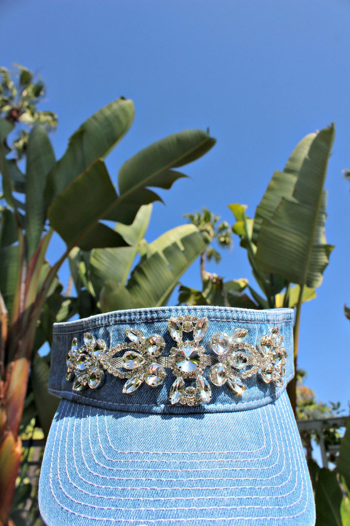 Denim and Swarovski Crystal Visor - Glitzy Bella