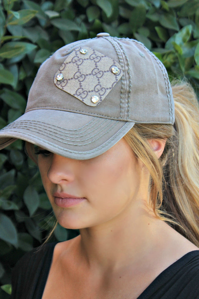 Authentic Re-purposed Gucci Patch Hat with Swarovski Crystals - Glitzy Bella