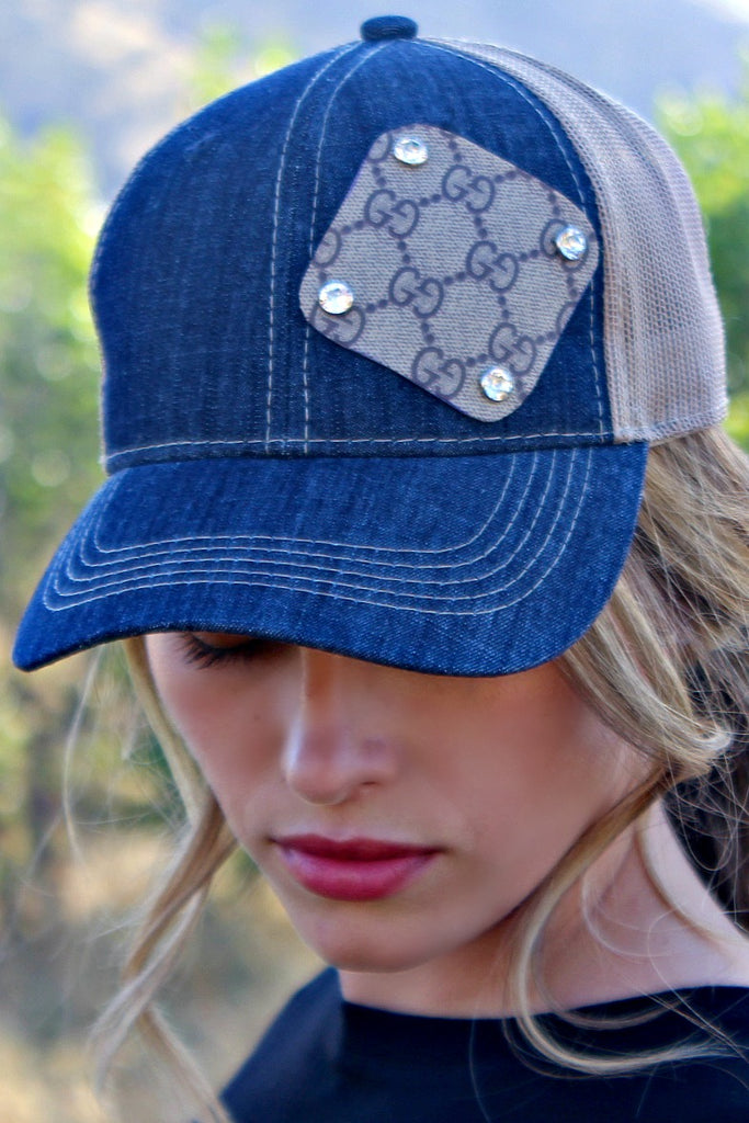 Authentic Re-purposed Gucci Patch Denim Hat with Swarovski Crystals