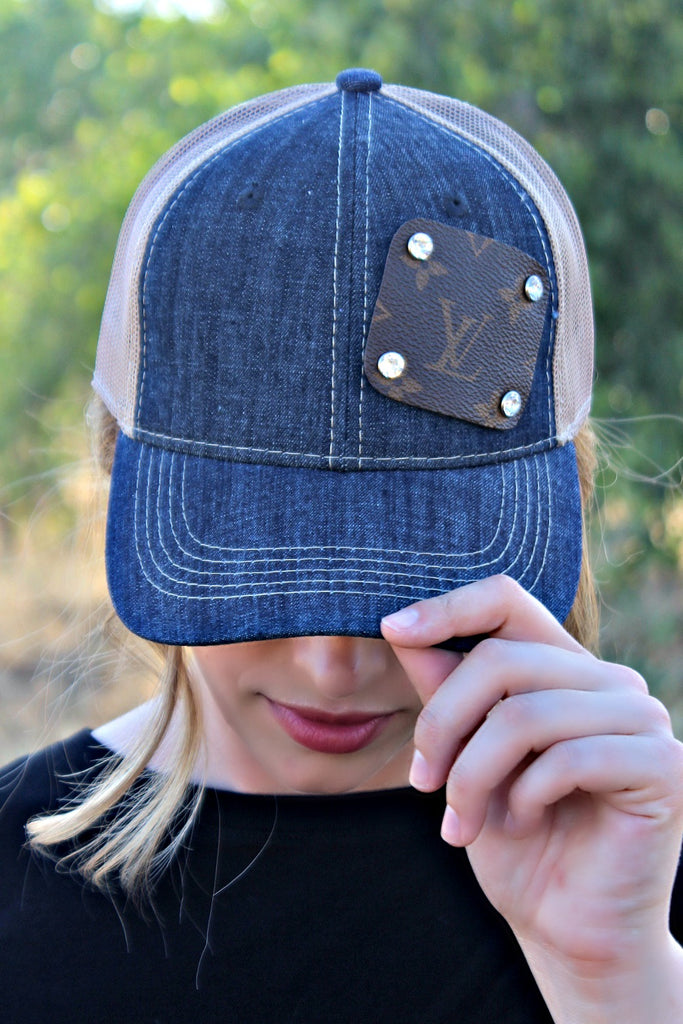 Authentic Re-purposed LV Patch Denim Hat with Swarovski Crystals - Glitzy Bella