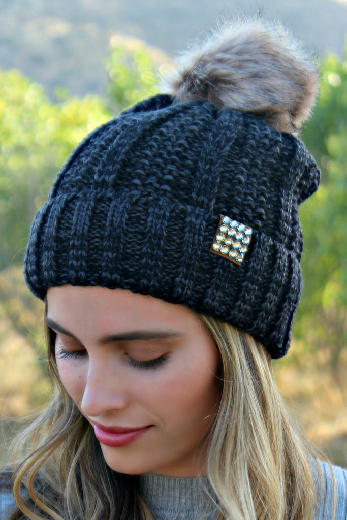 Chill of the Night Cable Knit Pom Beanie - Glitzy Bella