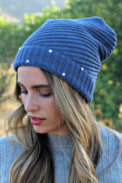 Crystallized Slouchy Knit Beanie in 2 Colors