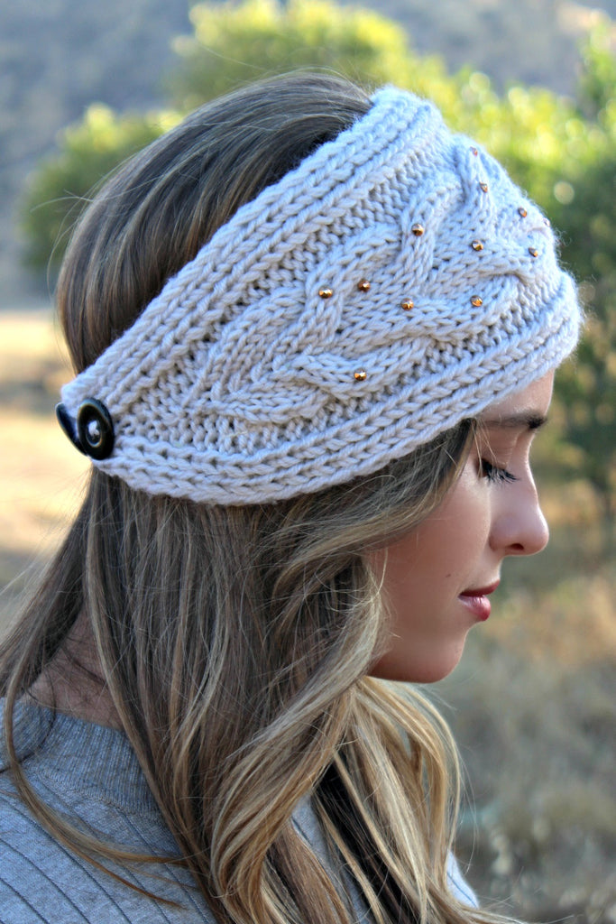 BEST SELLING!  Cable Knit Crystallized Head Wrap in 5 Colors - Glitzy Bella