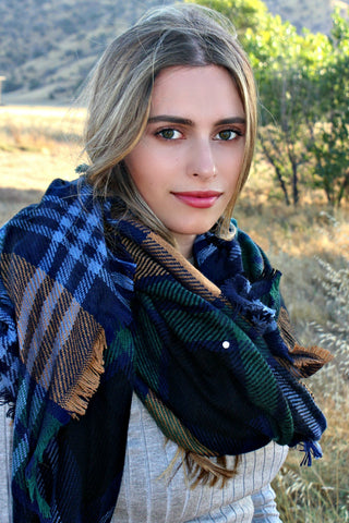 Navy Plaid Blanket Scarf - Glitzy Bella