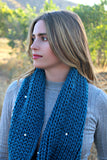 Cable Knit Infinity Scarf in Dark Teal