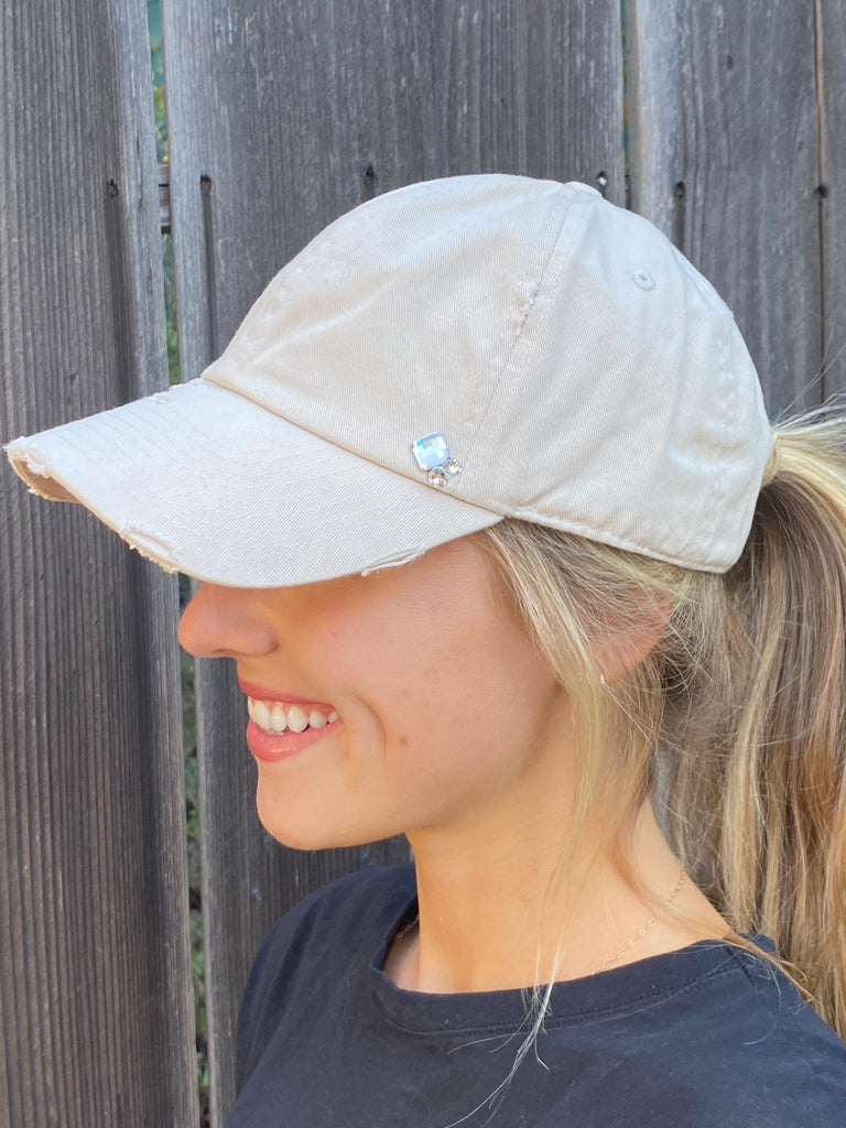 NEW!! Distressed Beige Crystallized Ball Cap