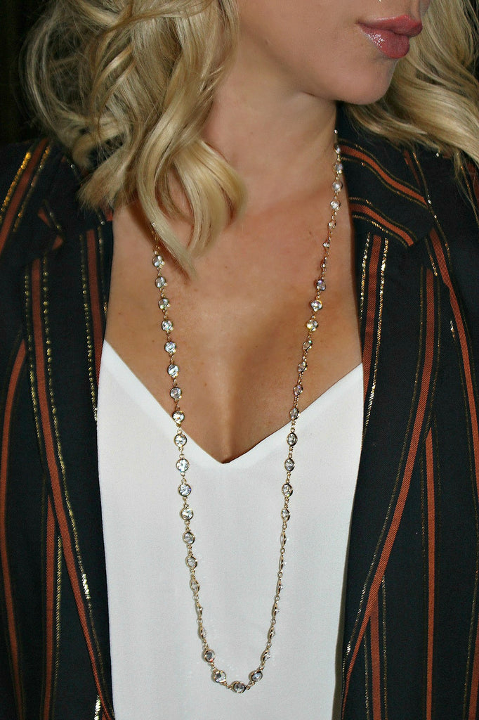 "Alexis ""Crystals by the Yard"" Necklace in Gold"