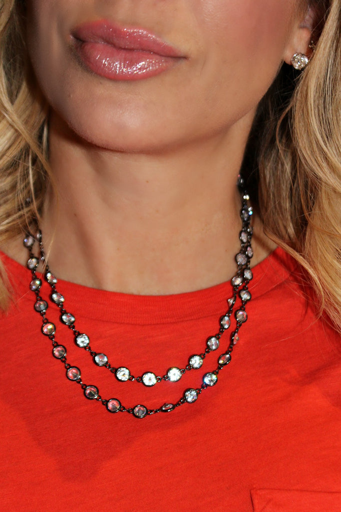 "Alexis ""Crystals by the Yard"" Necklace in Hematite"