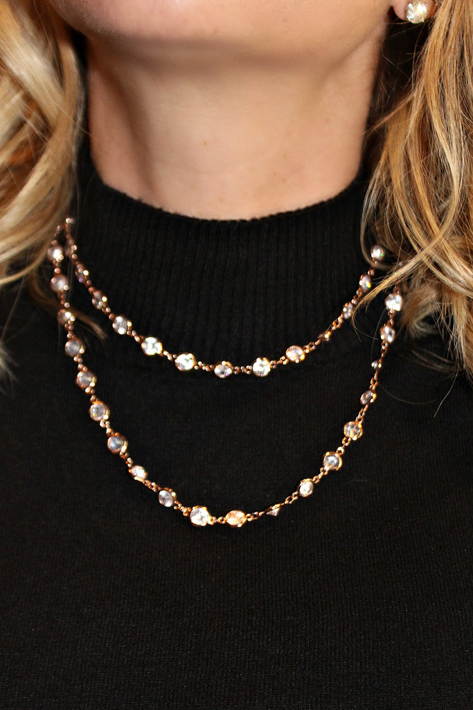 "Alexis ""Crystals by the Yard"" Necklace in Rose Gold"