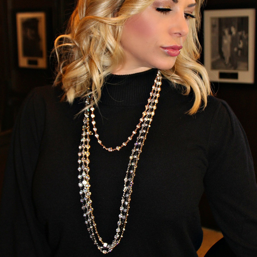 "Alexis ""Crystals by the Yard"" Necklace in Silver - Glitzy Bella"