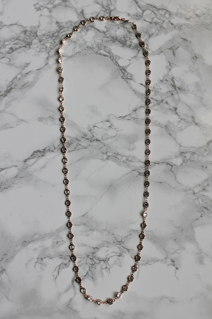 "Alexis ""Crystals by the Yard"" Necklace in Rose Gold - Glitzy Bella"