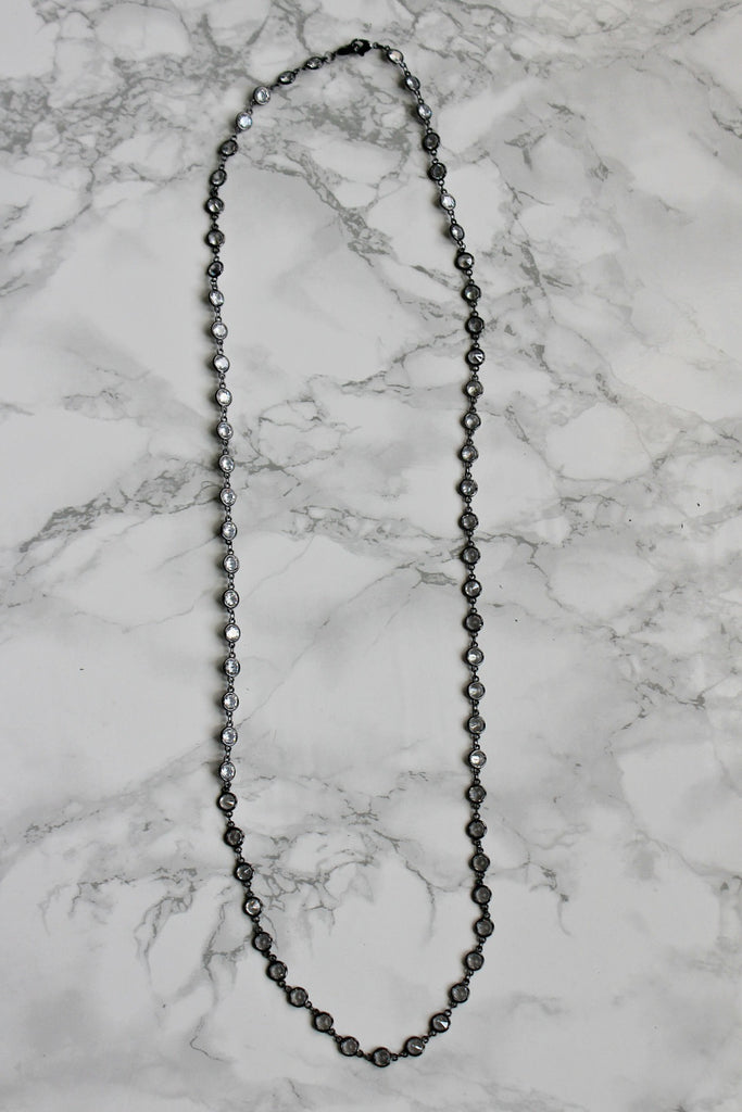 "Alexis ""Crystals by the Yard"" Necklace in Hematite - Glitzy Bella"