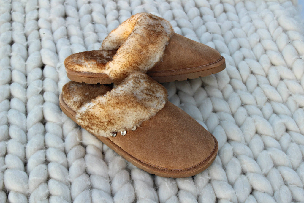"NEW!  Chestnut ""Scuff"" Suede & Doubleface Sheepskin Slippers"