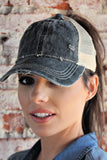 NEW!!  Washed Cotton Criss Cross Ponytail Ball Cap in Black - Glitzy Bella