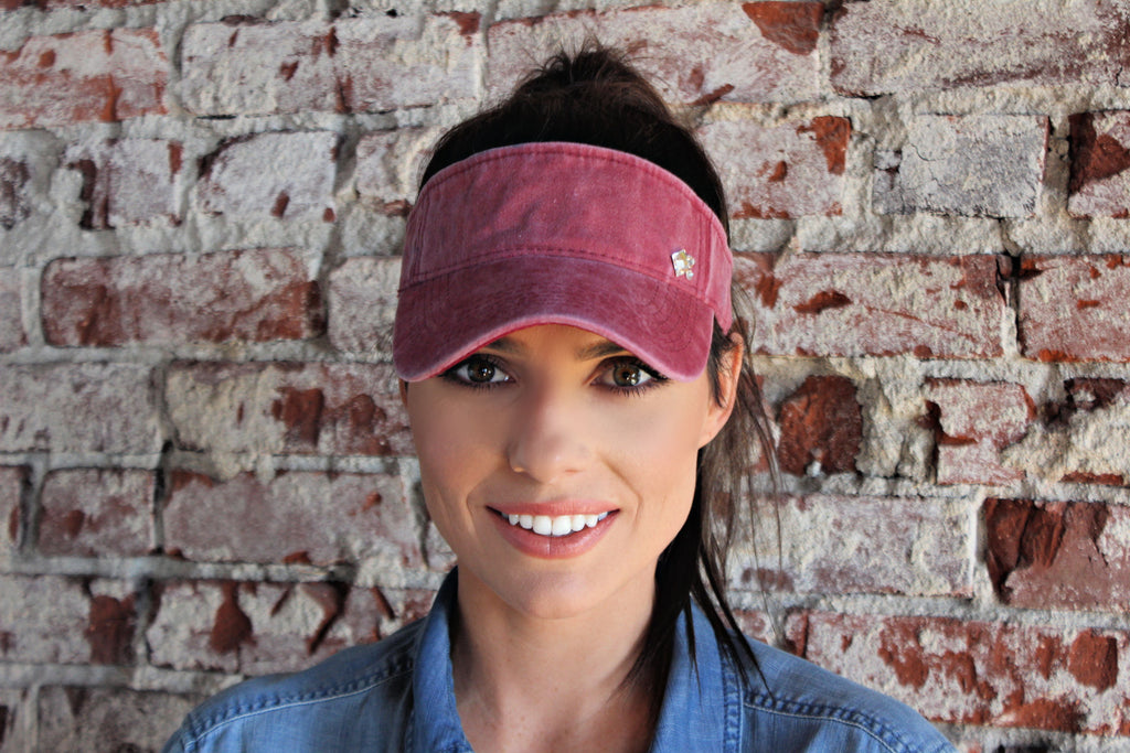 NEW!! Crystallized Washed Cotton Visor in 4 Colors - Glitzy Bella