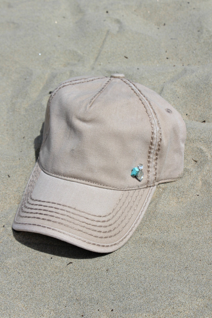 IN STOCK! Washed Cotton Beige Ball Cap w/ Turquoise - Glitzy Bella