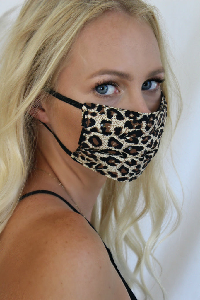 """She's Edgy"" 100% Cotton Leopard Face Mask"