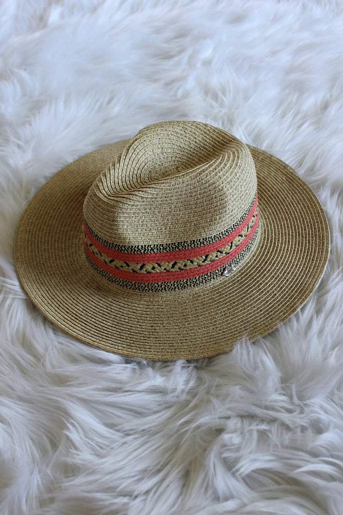 OUT OF STOCK - The Val Coral Stripe Panama