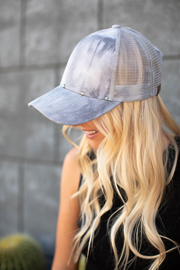 Marble Effect Ball Cap - Light Grey