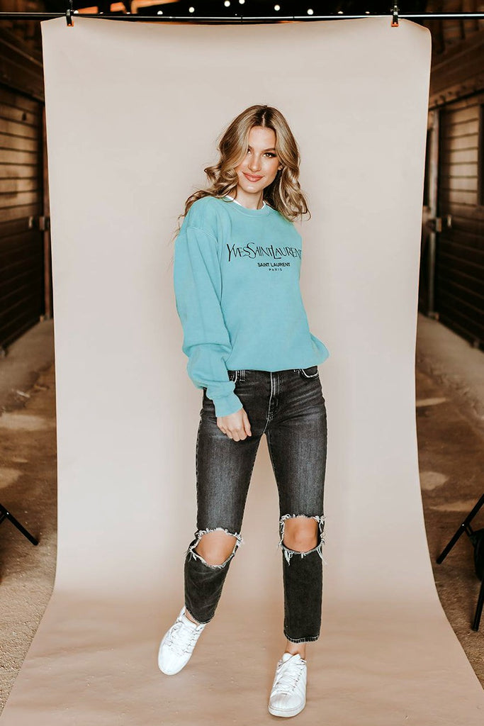 "GLITZY BELLA ORIGINAL : ""Designer Inspired"" Graphic Comfort Color Sweatshirt in 4 Colors"