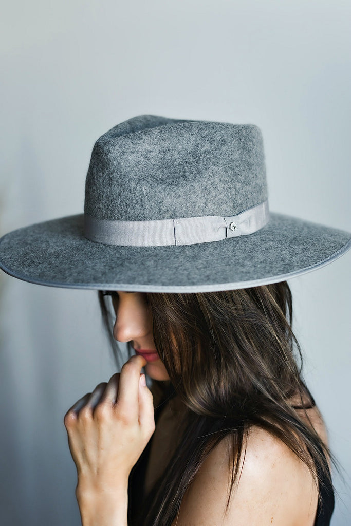 The Lennon Wool Panama in Grey - Glitzy Bella