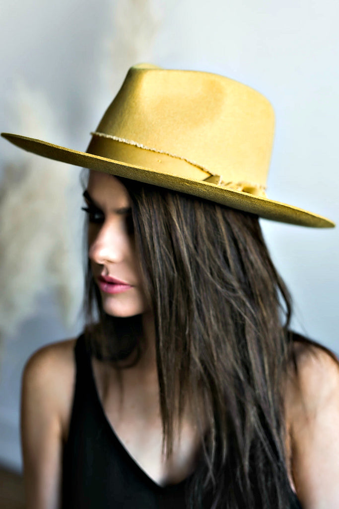 The Sierra Wool Panama in Mustard w/ Removable Feathers