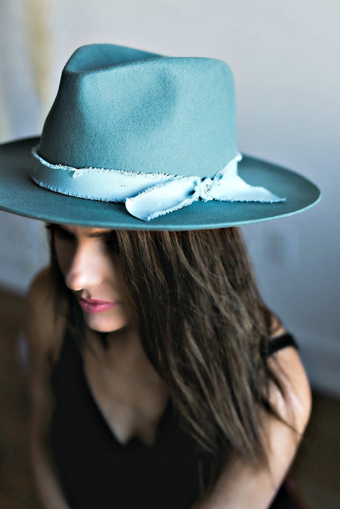 The Sierra Wool Panama in Powder Blue w/ Removable Feathers