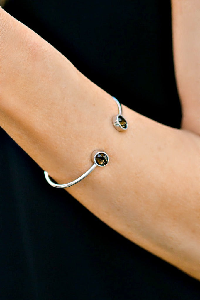 Bella Glam Silver Oval Cuffs