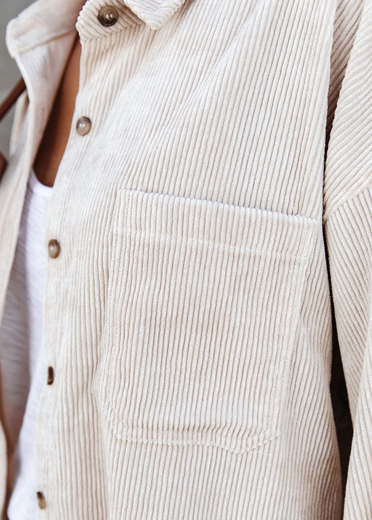 Arizona Corduroy Button Down in White- One Small Left!