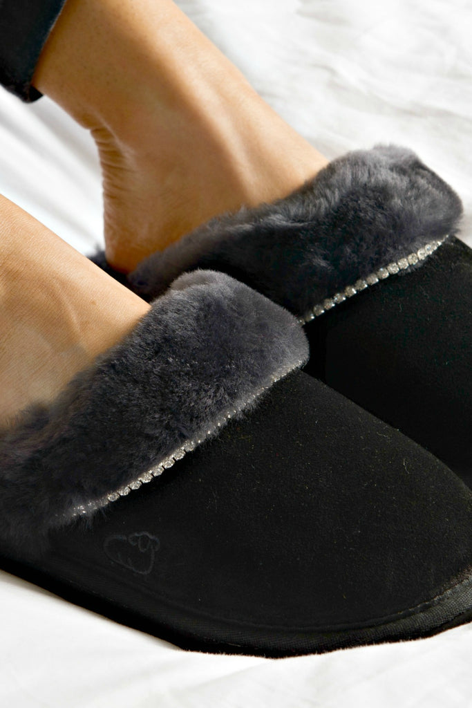"Black ""Scuff"" Suede & Sheepskin Slipper"