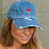 Embroidered Rose Distressed Hat - Glitzy Bella