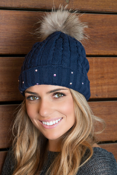 Lined Cable Knit Beanie with Genuine Fox Fur Pom