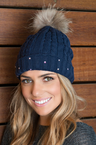 Lined Cable Knit Beanie with Genuine Fox Pom - Glitzy Bella