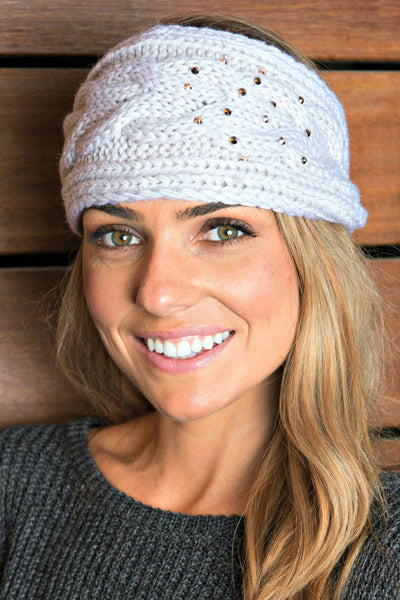 BEST SELLING!  Cable Knit Crystallized Head Wrap in 3 Colors