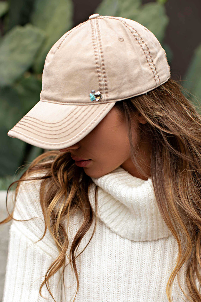 IN STOCK! Washed Cotton Beige Ball Cap w/ Turquoise