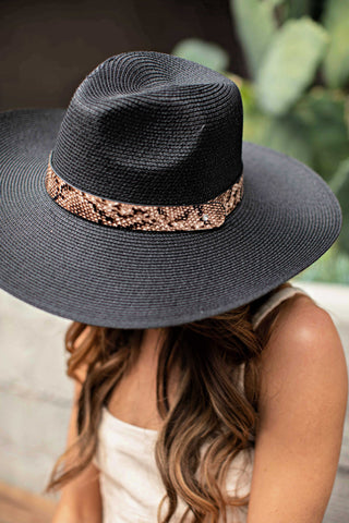 NEW!! The Sienna Straw Panama in Black