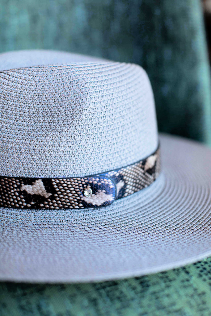 NEW!! The Sienna Straw Panama Hat in Grey