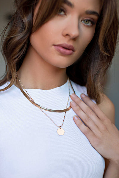 Hexagon Layered Necklace in Gold