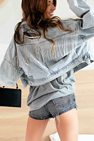 IN STOCK!- AS SEEN ON MICHELLE from VB! Rhinestone Fringe Denim Jacket