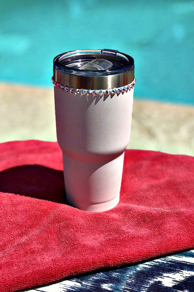White 30 oz. Tru Flask Rambler w/ Crystals