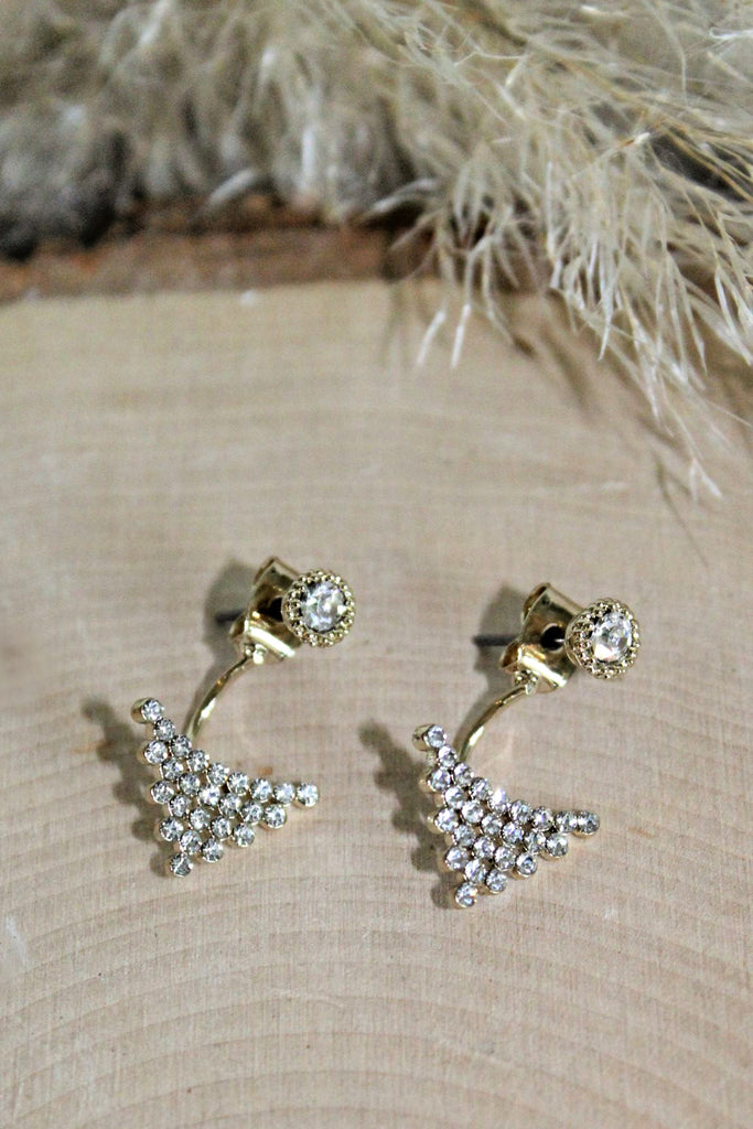Crystal Triangle Front Back Earrings