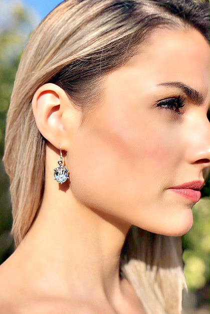 "EXCLUSIVE ""FIRST LADIES LUNCHEON"" Swarovski Crystal Silver Drop Earrings"