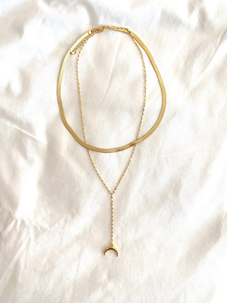 "IN STOCK!! ""AS SEEN ON MICHELLE from VB!!"" Layered Gold Crescent Necklace"