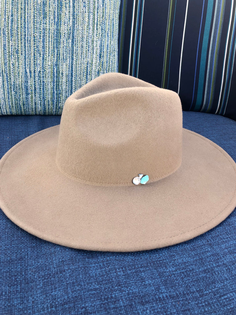 The Cameron Turquoise and Crystal Panama Hat in Taupe