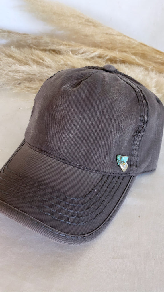 NEW!! Washed Cotton Grey Ball Cap w/ Turquoise- PRE ORDER